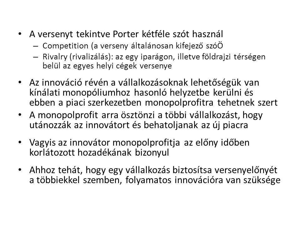 A versenyt tekintve Porter kétféle szót használ – Competition (a verseny általánosan kifejező szóÖ – Rivalry (rivalizálás): az egy iparágon, illetve f