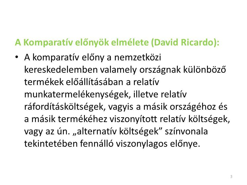 A Komparatív előnyök elmélete (David Ricardo): A komparatív előny a nemzetközi kereskedelemben valamely országnak különböző termékek előállításában a