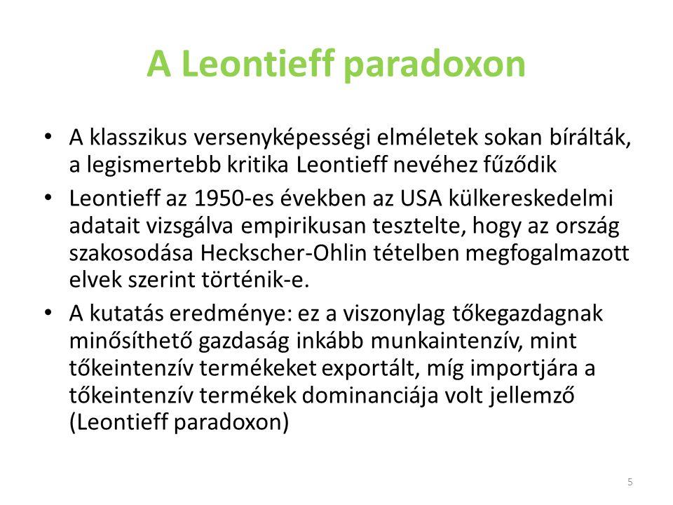 A Leontieff paradoxon A klasszikus versenyképességi elméletek sokan bírálták, a legismertebb kritika Leontieff nevéhez fűződik Leontieff az 1950-es év