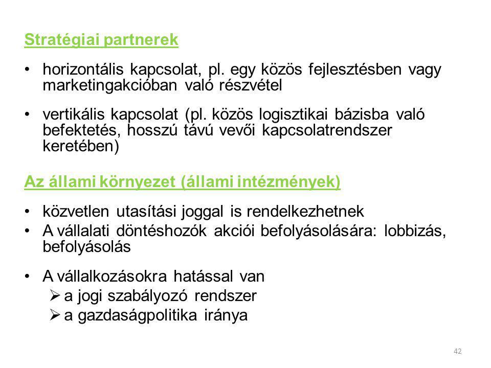 42 Stratégiai partnerek horizontális kapcsolat, pl.