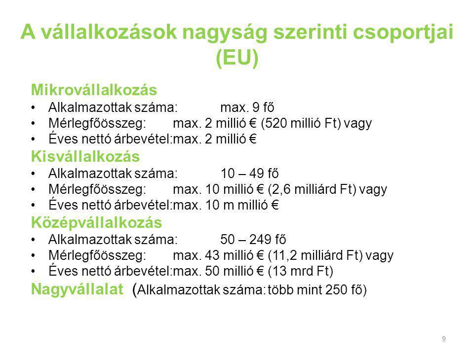 9 A vállalkozások nagyság szerinti csoportjai (EU) Mikrovállalkozás Alkalmazottak száma:max.