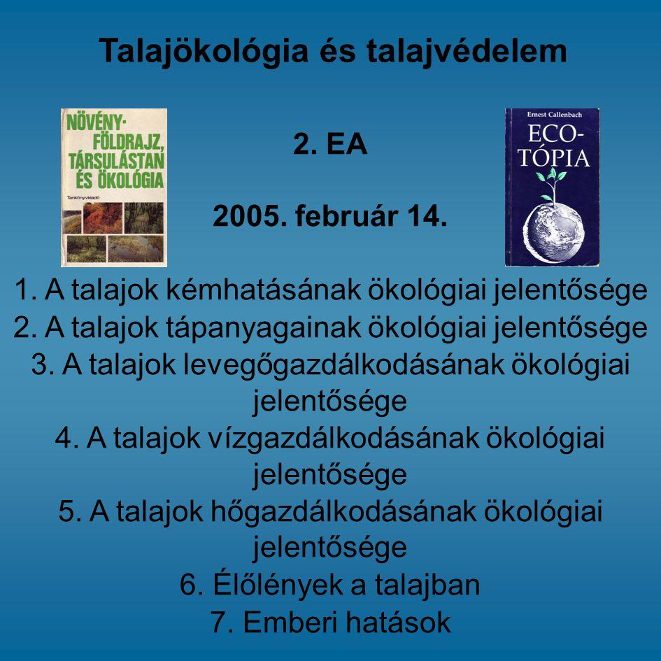 2. EA 2005. február 14. 1. A talajok kémhatásának ökológiai jelentősége 2. A talajok tápanyagainak ökológiai jelentősége 3. A talajok levegőgazdálkodá