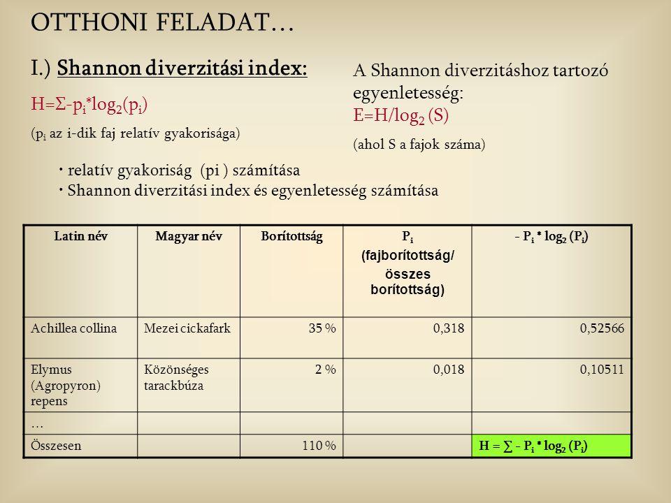 I.) Shannon diverzitási index: H=Σ-p i *log 2 (p i ) (p i az i-dik faj relatív gyakorisága) A Shannon diverzitáshoz tartozó egyenletesség: E=H/log 2 (S) (ahol S a fajok száma) relatív gyakoriság (pi ) számítása Shannon diverzitási index és egyenletesség számítása OTTHONI FELADAT… Latin névMagyar névBorítottságP i (fajborítottság/ összes borítottság) - P i * log 2 (P i ) Achillea collinaMezei cickafark35 %0,3180,52566 Elymus (Agropyron) repens Közönséges tarackbúza 2 %0,0180,10511 … Összesen110 %H = ∑ - P i * log 2 (P i )