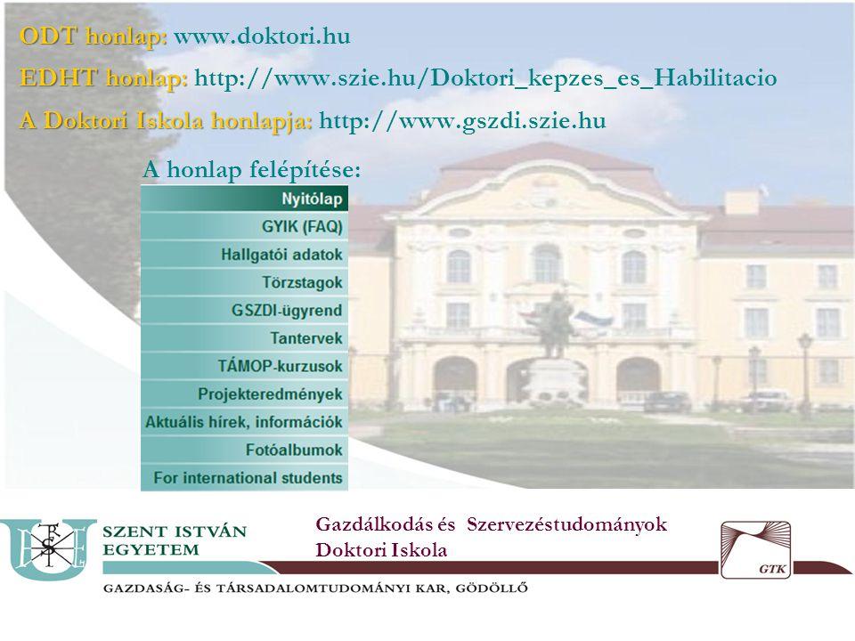 3 ODT honlap: ODT honlap: www.doktori.hu EDHT honlap: EDHT honlap: http://www.szie.hu/Doktori_kepzes_es_Habilitacio A Doktori Iskola honlapja: A Doktori Iskola honlapja: http://www.gszdi.szie.hu A honlap felépítése: Gazdálkodás és Szervezéstudományok Doktori Iskola
