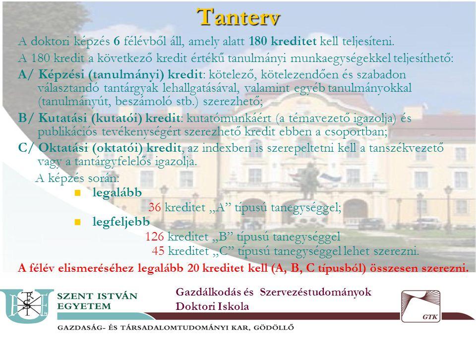 5Tanterv Gazdálkodás és Szervezéstudományok Doktori Iskola A doktori képzés 6 félévből áll, amely alatt 180 kreditet kell teljesíteni.