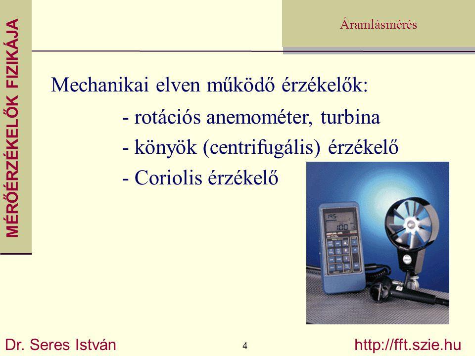 MÉRŐÉRZÉKELŐK FIZIKÁJA Dr. Seres István 4 http://fft.szie.hu Áramlásmérés Mechanikai elven működő érzékelők: - rotációs anemométer, turbina - könyök (