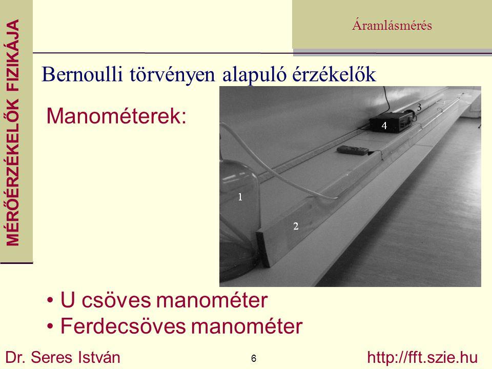MÉRŐÉRZÉKELŐK FIZIKÁJA Dr. Seres István 6 http://fft.szie.hu Áramlásmérés Bernoulli törvényen alapuló érzékelők Manométerek: U csöves manométer Ferdec