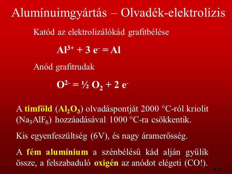9:37 Alumínuimgyártás – Olvadék-elektrolízis Katód az elektrolizálókád grafitbélése Al 3+ + 3 e - = Al Anód grafitrudak O 2- = ½ O 2 + 2 e - A timföld