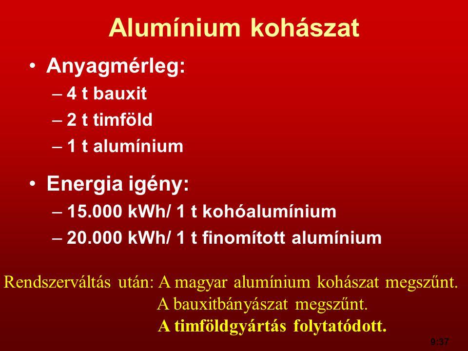 9:37 Alumínium kohászat Anyagmérleg: –4 t bauxit –2 t timföld –1 t alumínium Energia igény: –15.000 kWh/ 1 t kohóalumínium –20.000 kWh/ 1 t finomított