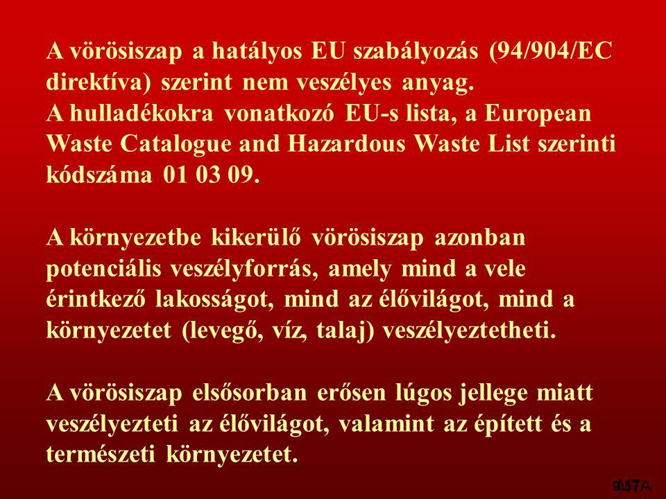 9:37 A vörösiszap a hatályos EU szabályozás (94/904/EC direktíva) szerint nem veszélyes anyag. A hulladékokra vonatkozó EU-s lista, a European Waste C
