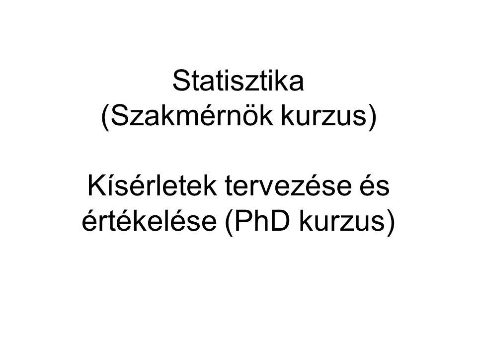 Statisztika (Szakmérnök kurzus) Kísérletek tervezése és értékelése (PhD kurzus)
