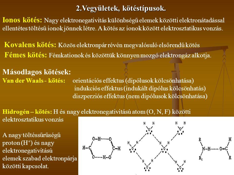 2.Vegyületek, kötéstípusok. Ionos kötés: Nagy elektronegativitás különbségű elemek közötti elektronátadással ellentétes töltésű ionok jönnek létre. A