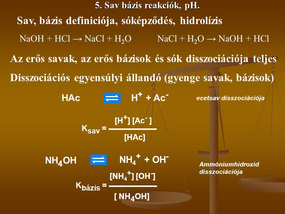 5. Sav bázis reakciók, pH. Disszociációs egyensúlyi állandó (gyenge savak, bázisok) HAcH + + Ac - ecetsav disszociációja K sav = ▬▬▬▬▬▬ [HAc] [H + ] [