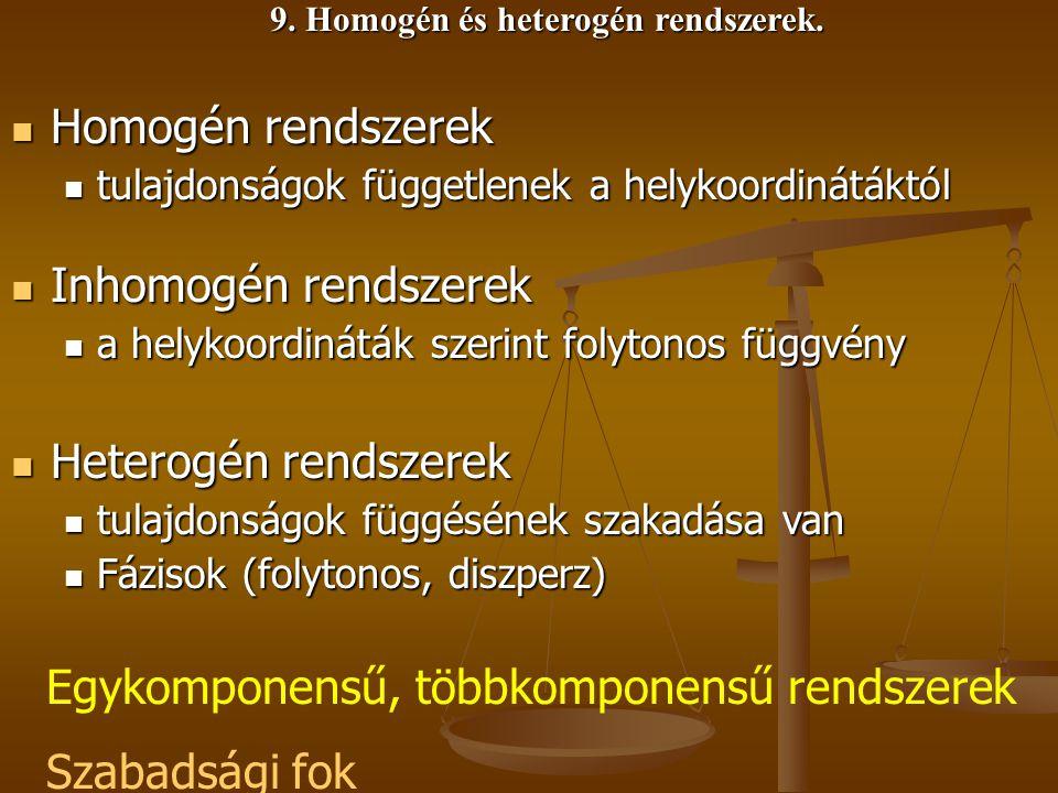 9. Homogén és heterogén rendszerek. Homogén rendszerek Homogén rendszerek tulajdonságok függetlenek a helykoordinátáktól tulajdonságok függetlenek a h