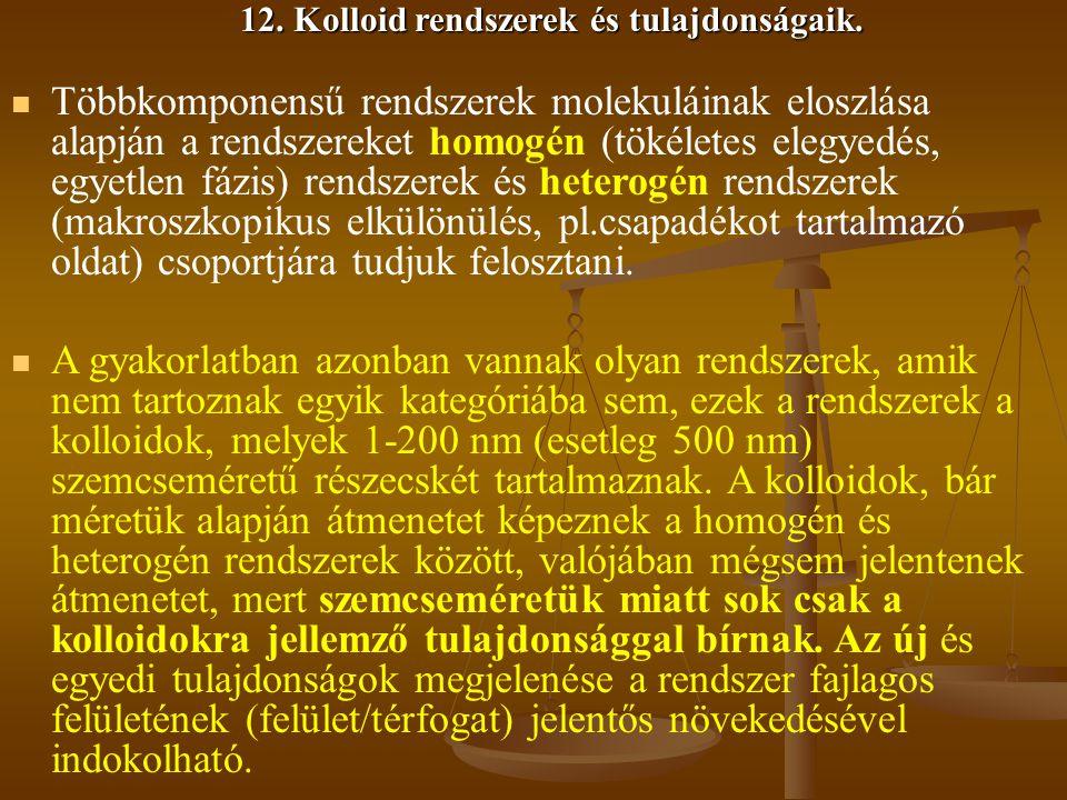 12.Kolloid rendszerek és tulajdonságaik.