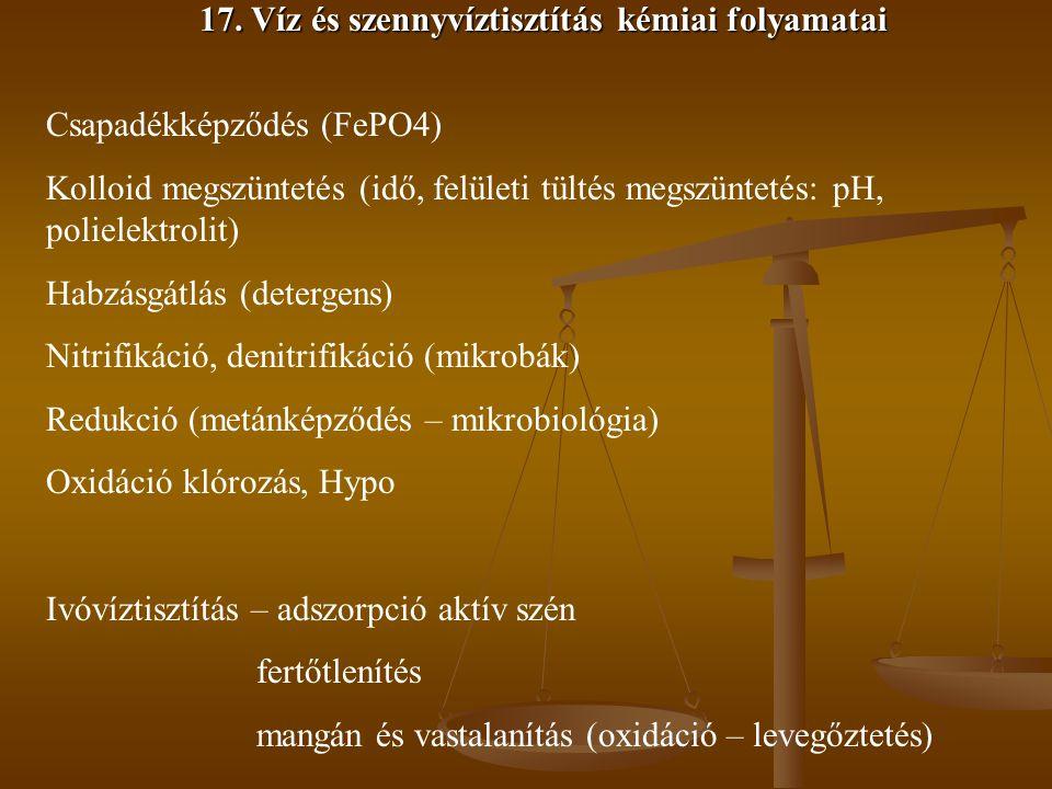 17. Víz és szennyvíztisztítás kémiai folyamatai Csapadékképződés (FePO4) Kolloid megszüntetés (idő, felületi tültés megszüntetés: pH, polielektrolit)