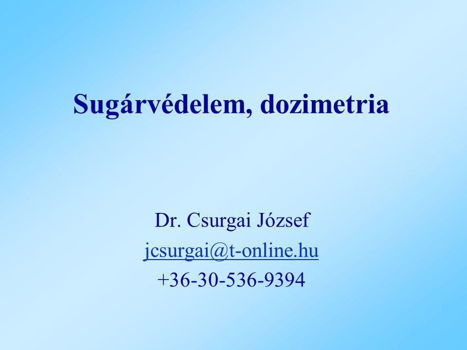 Sugárvédelem, dozimetria Dr. Csurgai József jcsurgai@t-online.hu +36-30-536-9394