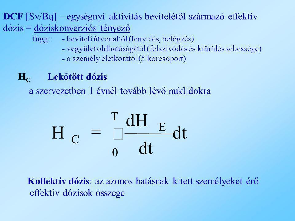 H C Lekötött dózis a szervezetben 1 évnél tovább lévő nuklidokra dt dH H T 0 E C   Kollektív dózis: az azonos hatásnak kitett személyeket érő effekt