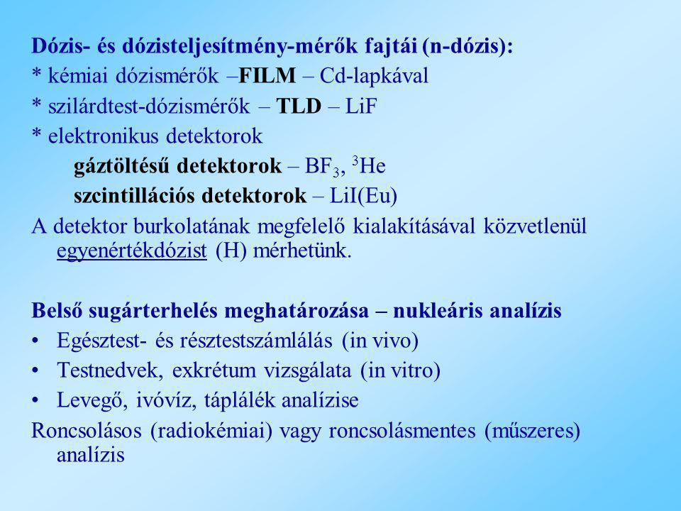 Dózis- és dózisteljesítmény-mérők fajtái (n-dózis): * kémiai dózismérők –FILM – Cd-lapkával * szilárdtest-dózismérők – TLD – LiF * elektronikus detekt