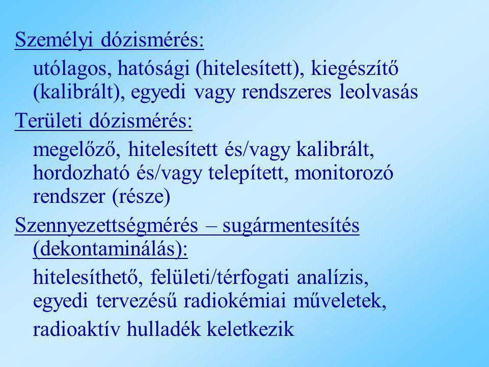 Személyi dózismérés: utólagos, hatósági (hitelesített), kiegészítő (kalibrált), egyedi vagy rendszeres leolvasás Területi dózismérés: megelőző, hitele