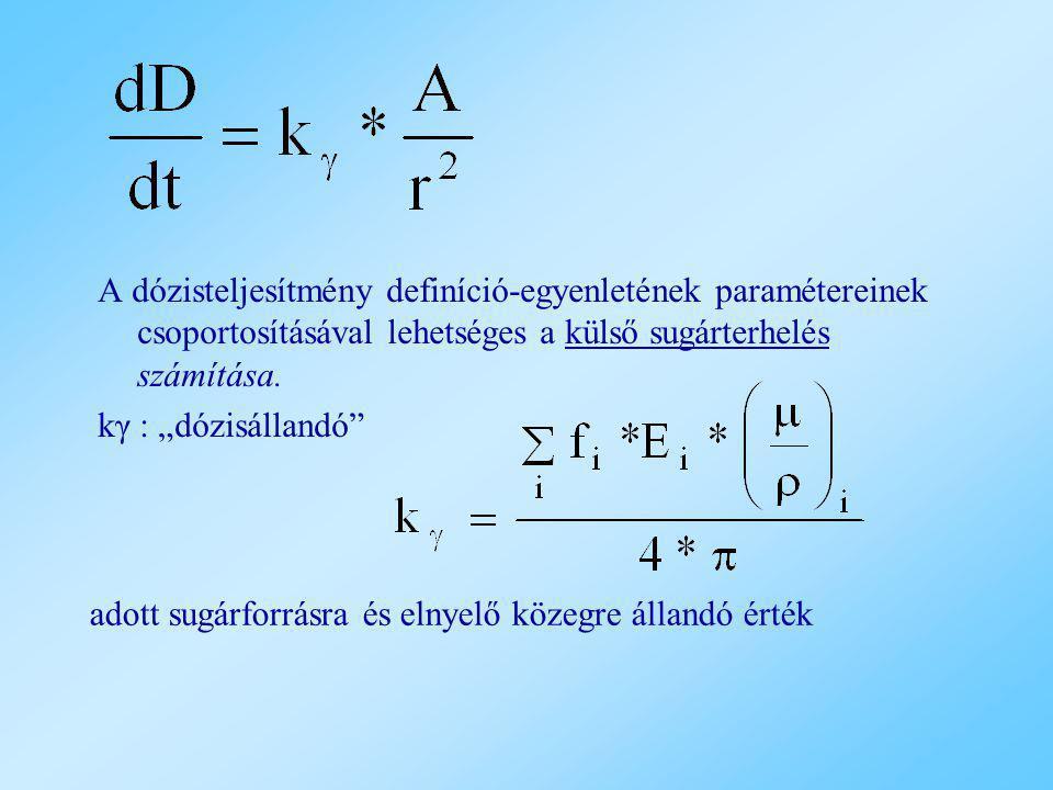 """A dózisteljesítmény definíció-egyenletének paramétereinek csoportosításával lehetséges a külső sugárterhelés számítása. kγ : """"dózisállandó"""" adott sugá"""