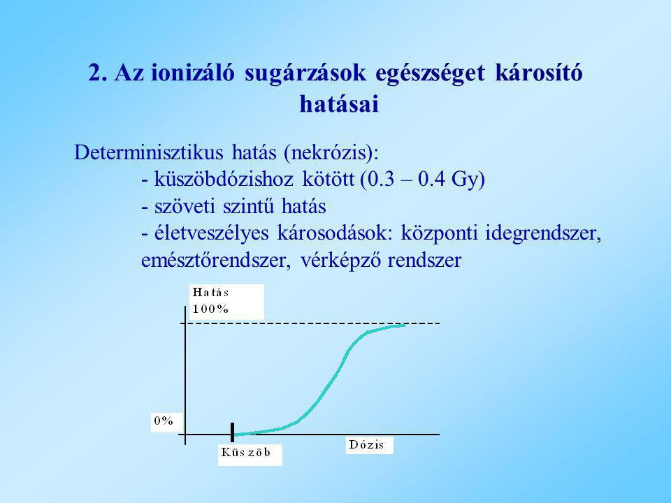 2. Az ionizáló sugárzások egészséget károsító hatásai Determinisztikus hatás (nekrózis): - küszöbdózishoz kötött (0.3 – 0.4 Gy) - szöveti szintű hatás