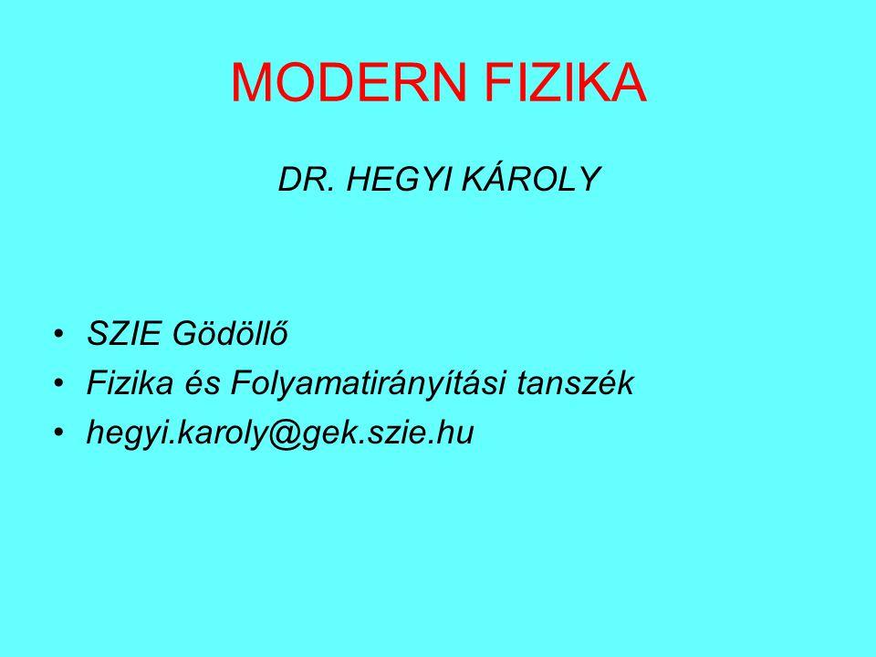 MODERN FIZIKA DR. HEGYI KÁROLY SZIE Gödöllő Fizika és Folyamatirányítási tanszék hegyi.karoly@gek.szie.hu
