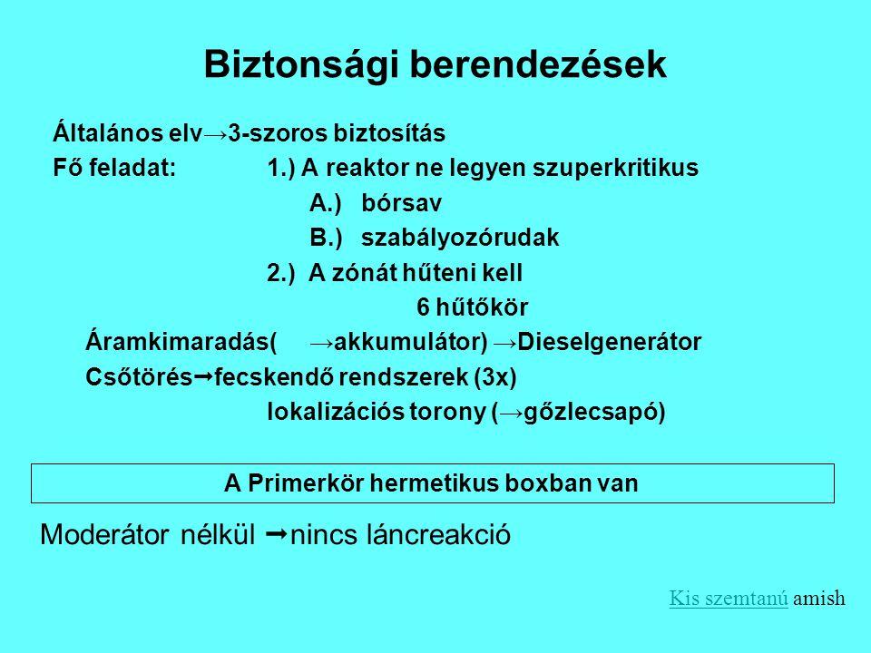 Biztonsági berendezések Általános elv→3-szoros biztosítás Fő feladat:1.) A reaktor ne legyen szuperkritikus A.) bórsav B.) szabályozórudak 2.) A zónát
