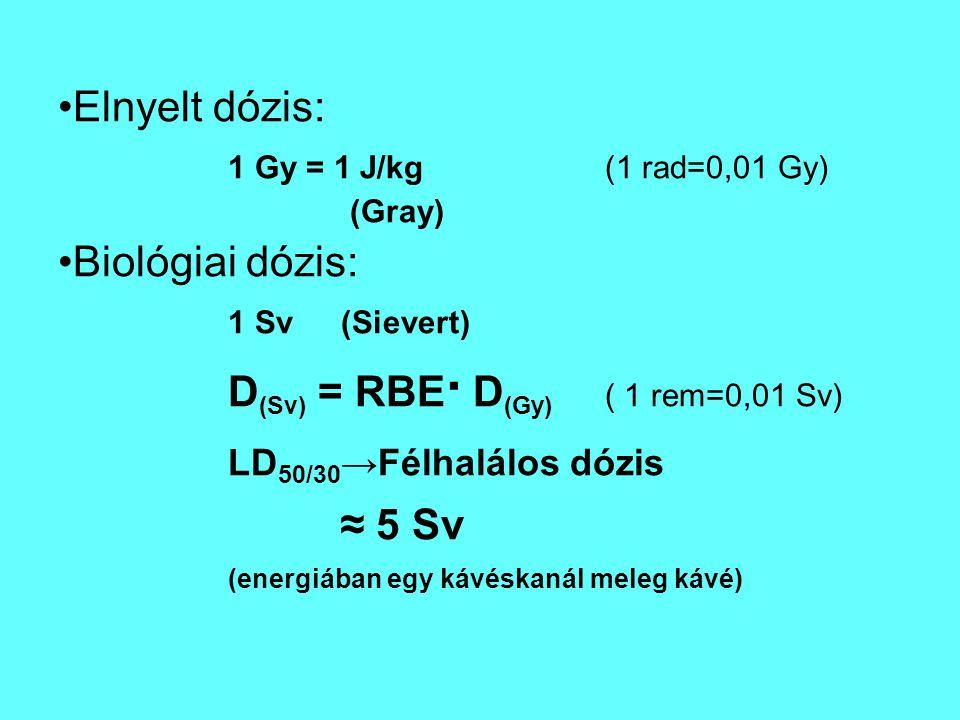 Elnyelt dózis: 1 Gy = 1 J/kg(1 rad=0,01 Gy) (Gray) Biológiai dózis: 1 Sv(Sievert) D (Sv) = RBE · D (Gy) ( 1 rem=0,01 Sv) LD 50/30 →Félhalálos dózis ≈