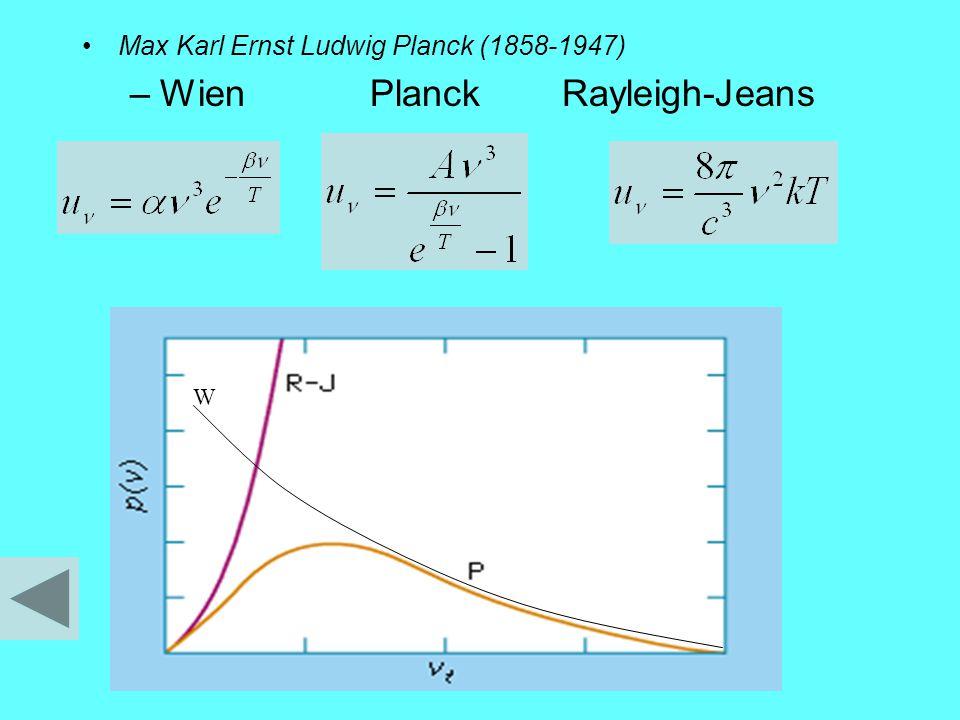 Max Karl Ernst Ludwig Planck (1858-1947) –WienPlanckRayleigh-Jeans W