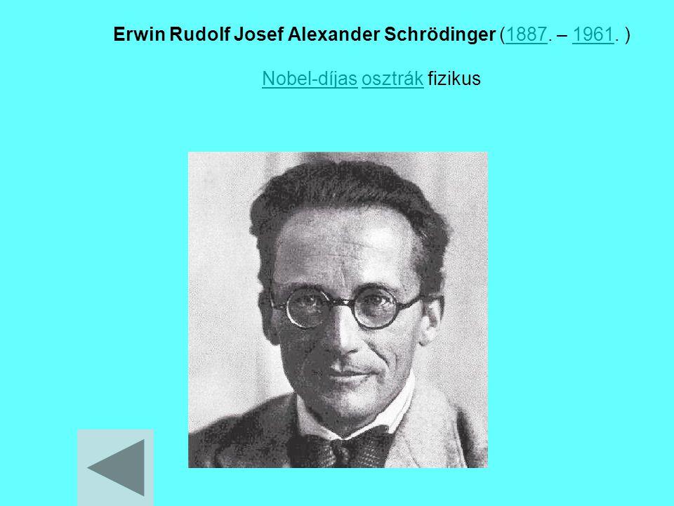 Erwin Rudolf Josef Alexander Schrödinger (1887. – 1961. ) Nobel-díjas osztrák fizikus18871961 Nobel-díjasosztrák