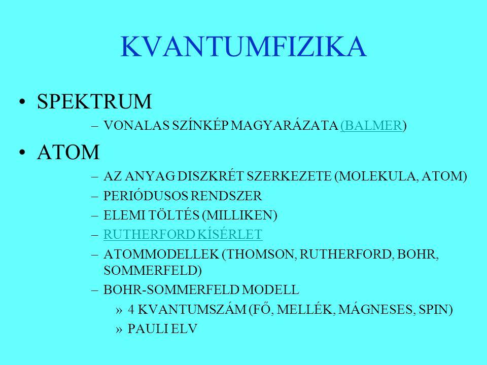 KVANTUMFIZIKA SPEKTRUM –VONALAS SZÍNKÉP MAGYARÁZATA (BALMER)(BALMER ATOM –AZ ANYAG DISZKRÉT SZERKEZETE (MOLEKULA, ATOM) –PERIÓDUSOS RENDSZER –ELEMI TÖ
