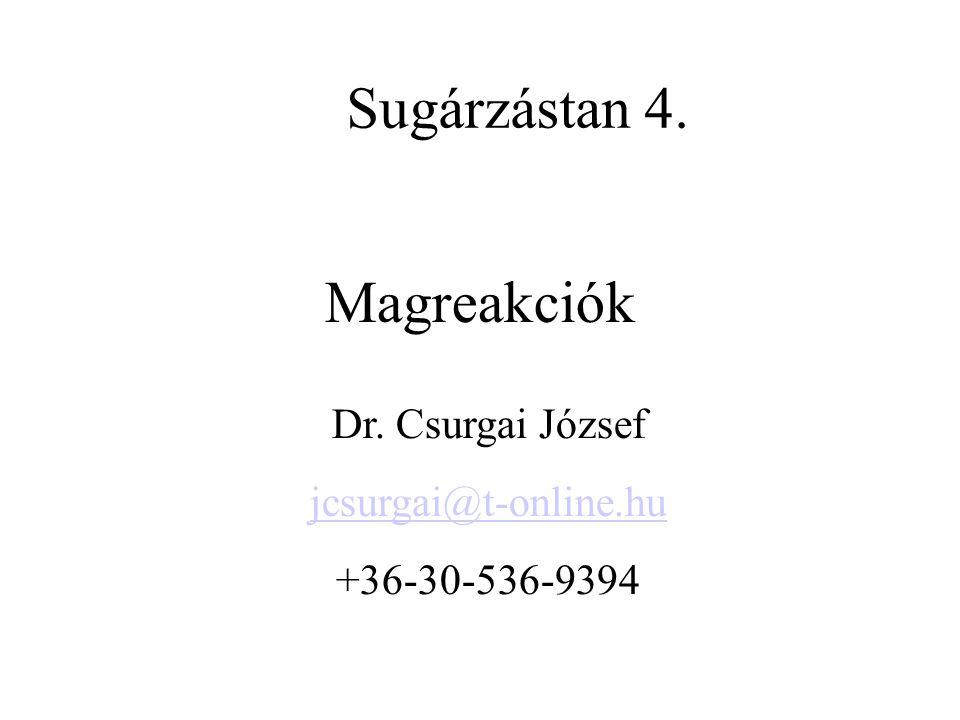 Magreakciók Dr. Csurgai József jcsurgai@t-online.hu +36-30-536-9394 Sugárzástan 4.