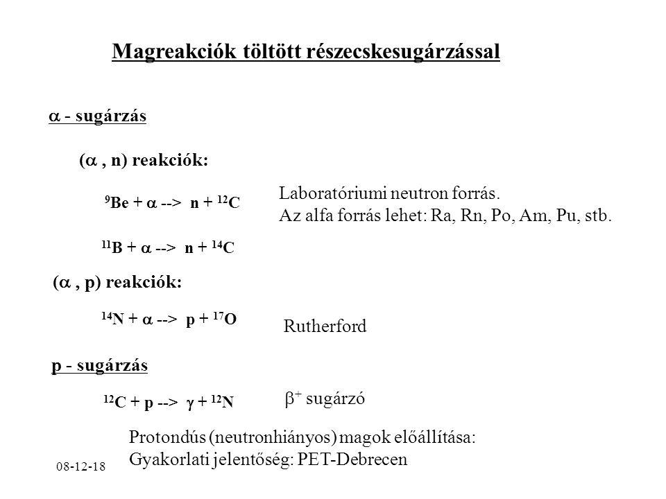 08-12-18 Magreakciók töltött részecskesugárzással  - sugárzás (  n) reakciók: 9 Be +  --> n + 12 C Laboratóriumi neutron forrás.