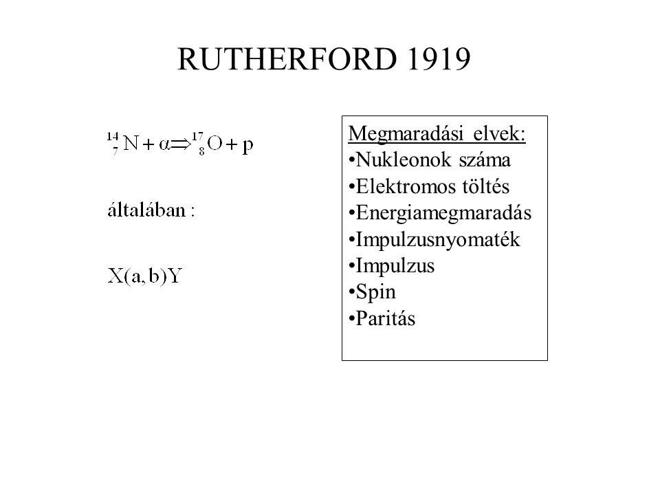 RUTHERFORD 1919 Megmaradási elvek: Nukleonok száma Elektromos töltés Energiamegmaradás Impulzusnyomaték Impulzus Spin Paritás