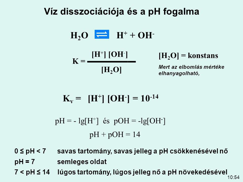 10:54 Víz disszociációja és a pH fogalma H 2 O H + + OH - K v = K = ▬▬▬▬▬▬ [H 2 O] [H + ] [OH - ] Mert az elbomlás mértéke elhanyagolható, [H + ] [OH