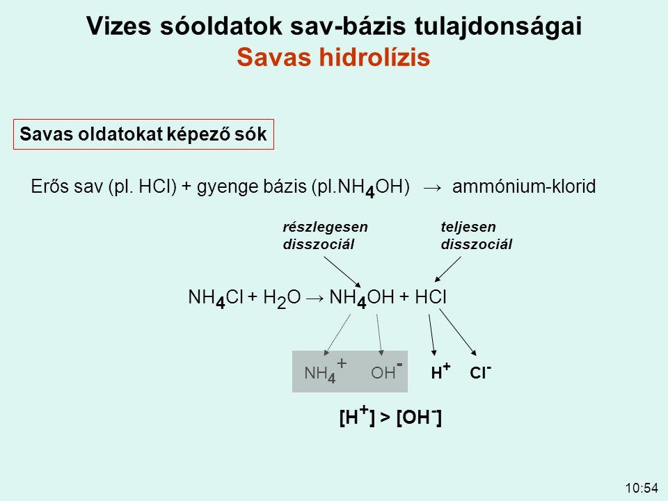 10:54 Vizes sóoldatok sav-bázis tulajdonságai Savas hidrolízis Savas oldatokat képező sók Erős sav (pl. HCl) + gyenge bázis (pl.NH 4 OH) → ammónium-kl