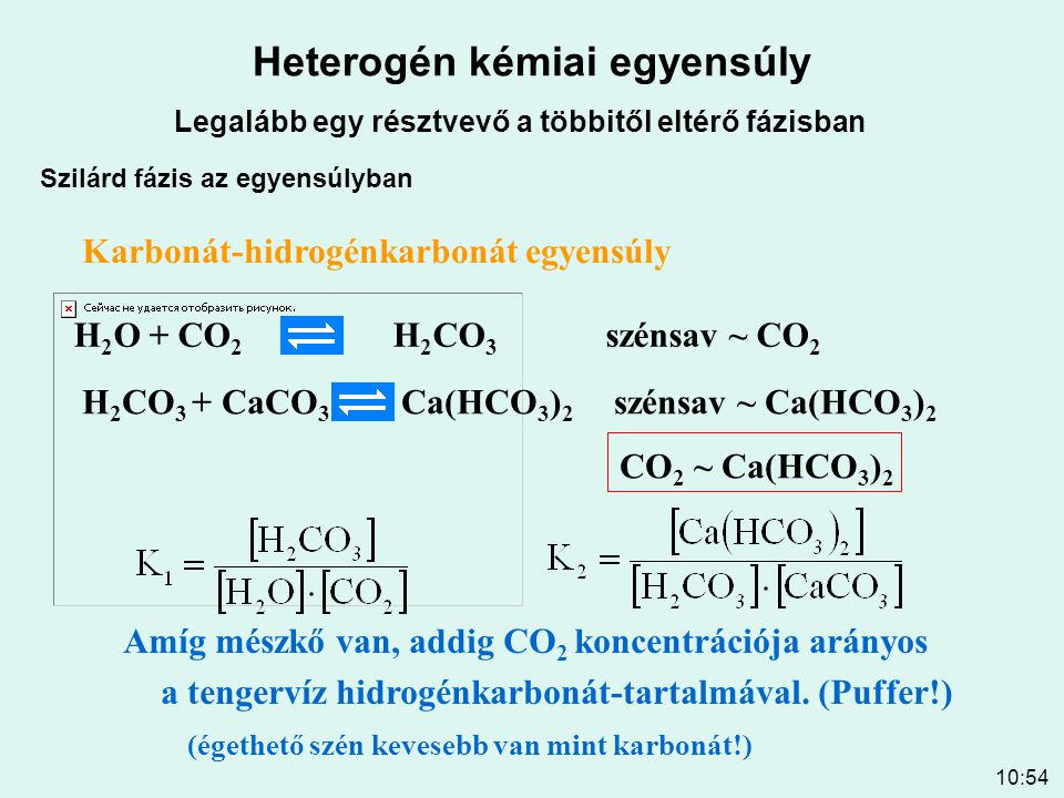 10:54 Heterogén kémiai egyensúly Legalább egy résztvevő a többitől eltérő fázisban Szilárd fázis az egyensúlyban H 2 O + CO 2 H 2 CO 3 szénsav ~ CO 2