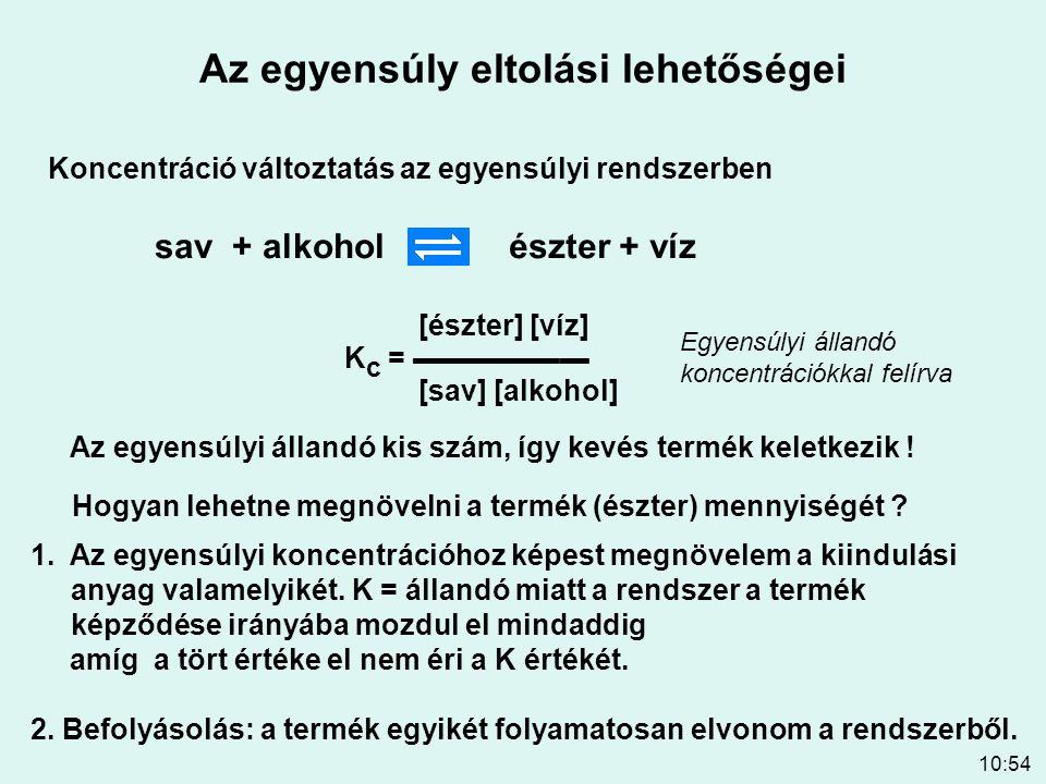 10:54 Az egyensúly eltolási lehetőségei Koncentráció változtatás az egyensúlyi rendszerben sav + alkoholészter + víz K c = ▬▬▬▬▬▬ [sav] [alkohol] [ész