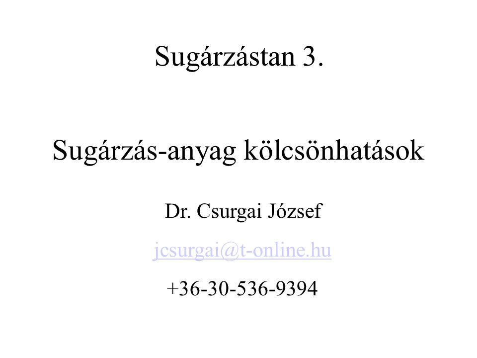 Sugárzás-anyag kölcsönhatások Dr. Csurgai József jcsurgai@t-online.hu +36-30-536-9394 Sugárzástan 3.