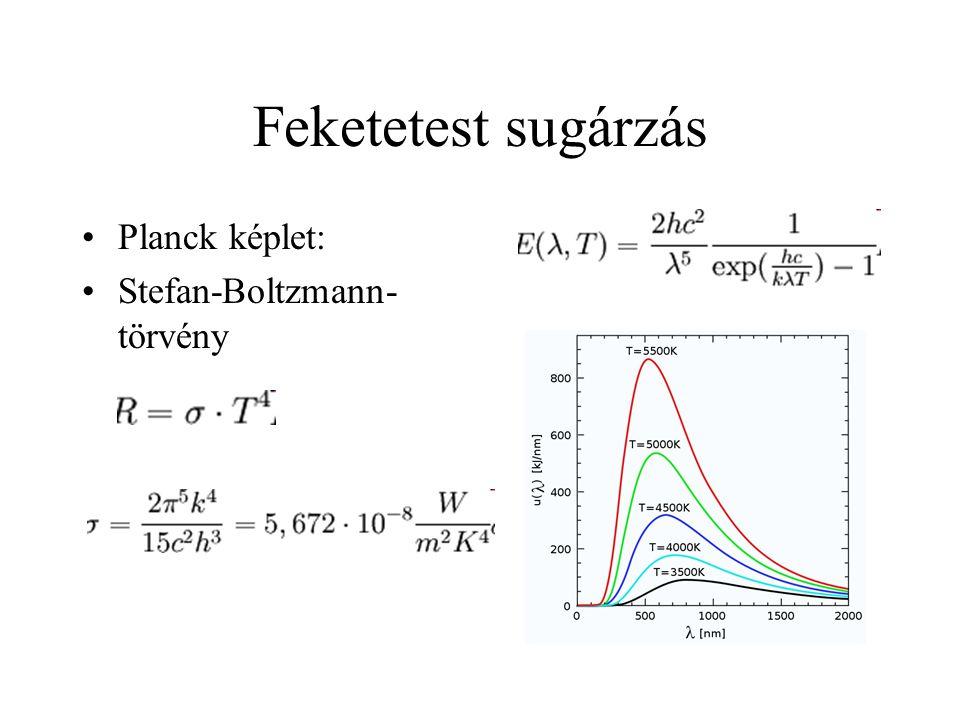 Feketetest sugárzás Planck képlet: Stefan-Boltzmann- törvény