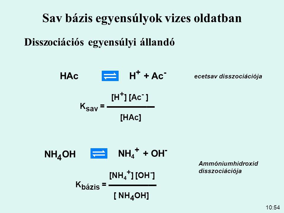 10:54 Savak disszociációja vizes oldatban Sav Ks pKs Sósav ∞ Kénsav ∞ Salétromsav ∞ Triklórecetsav 3,0*10 -1 0,52 Ecetsav 1,8*10 -5 4,75 Kénessav 1,6*10 -2 1,79 Szénsav 4,4*10 -7 6,37 Erős savak Gyenge savak HAH + + A - K s = ▬▬▬▬ [HA] [H + ] [A - ]