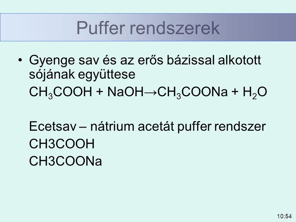 10:54 Puffer rendszerek Gyenge sav és az erős bázissal alkotott sójának együttese CH 3 COOH + NaOH→CH 3 COONa + H 2 O Ecetsav – nátrium acetát puffer