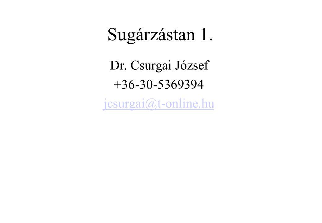 Sugárzástan 1. Dr. Csurgai József +36-30-5369394 jcsurgai@t-online.hu