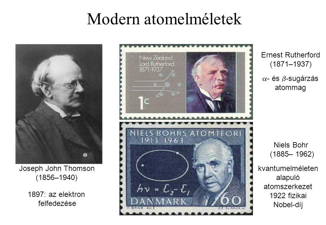 Modern atomelméletek Joseph John Thomson (1856–1940) Ernest Rutherford (1871–1937) 1897: az elektron felfedezése  - és  -sugárzás atommag Niels Bohr