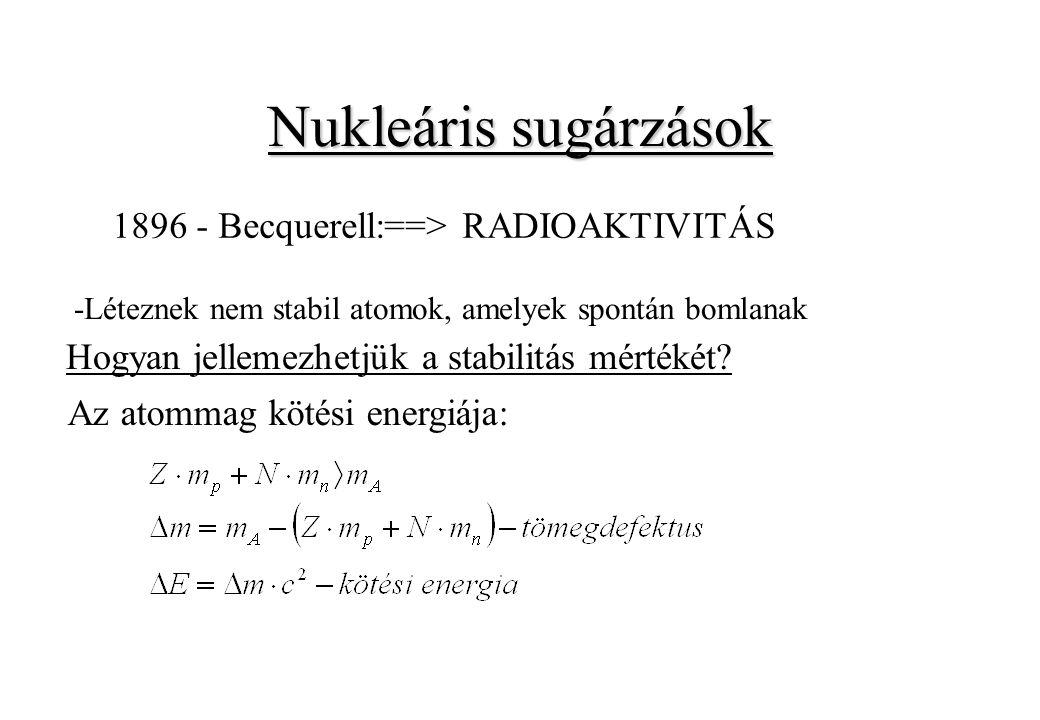 Nukleáris sugárzások 1896 - Becquerell:==> RADIOAKTIVITÁS -Léteznek nem stabil atomok, amelyek spontán bomlanak Hogyan jellemezhetjük a stabilitás mér