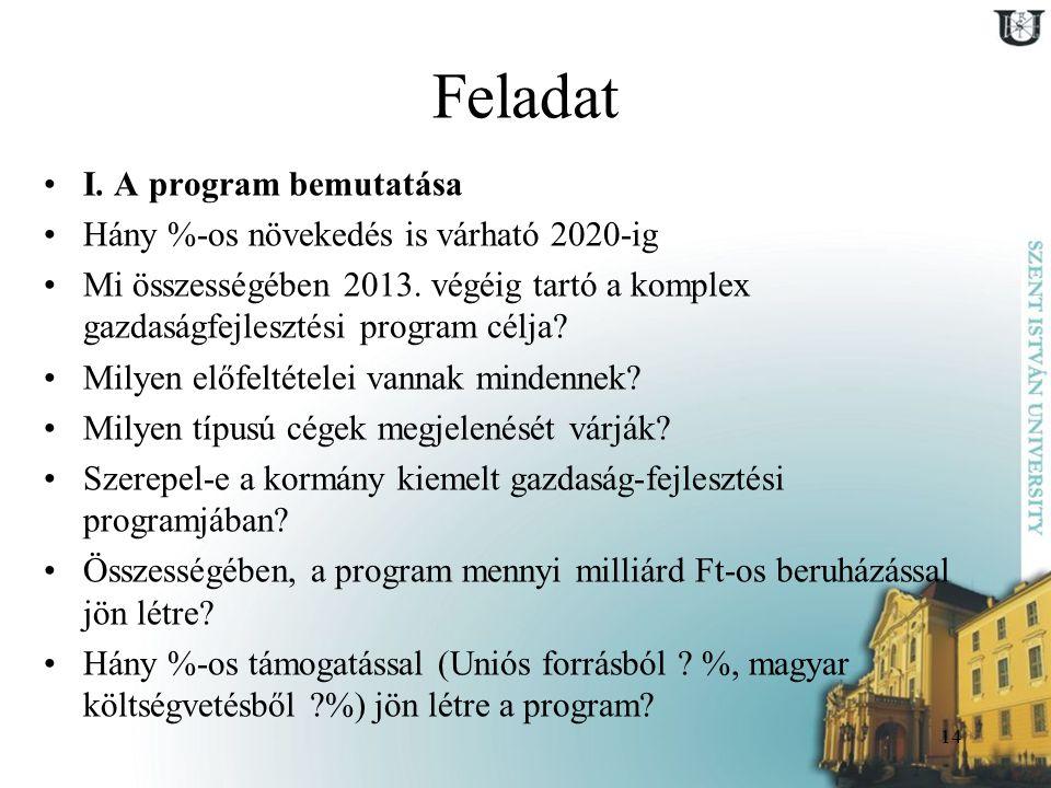 14 Feladat I. A program bemutatása Hány %-os növekedés is várható 2020-ig Mi összességében 2013. végéig tartó a komplex gazdaságfejlesztési program cé