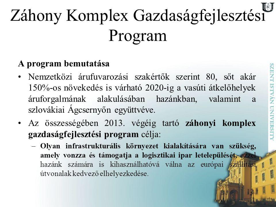 2 Záhony Komplex Gazdaságfejlesztési Program A program bemutatása Nemzetközi árufuvarozási szakértők szerint 80, sőt akár 150%-os növekedés is várható