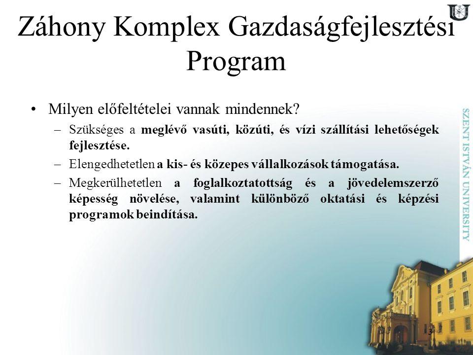 3 Záhony Komplex Gazdaságfejlesztési Program Milyen előfeltételei vannak mindennek? –Szükséges a meglévő vasúti, közúti, és vízi szállítási lehetősége