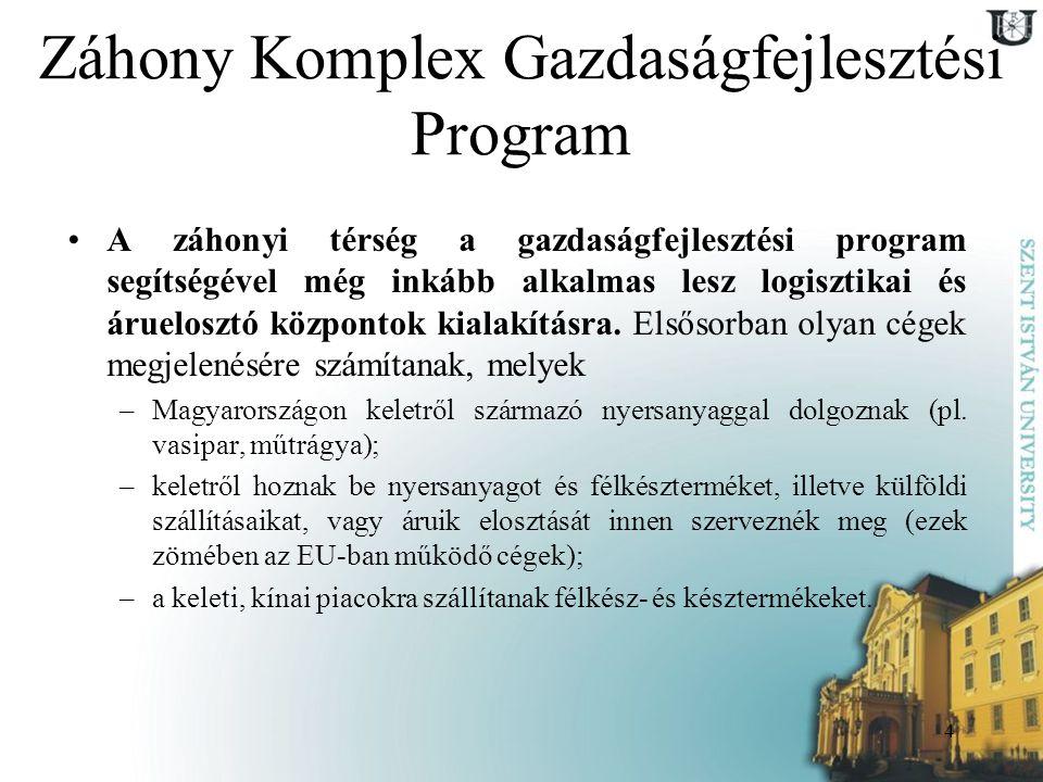 4 Záhony Komplex Gazdaságfejlesztési Program A záhonyi térség a gazdaságfejlesztési program segítségével még inkább alkalmas lesz logisztikai és áruel